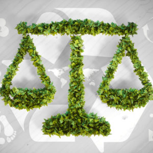 Ecology balance - 3d illustration with ecology icons on grey wooden background.